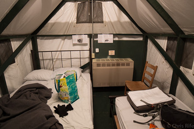 Luxury tent-cabin accomodations.